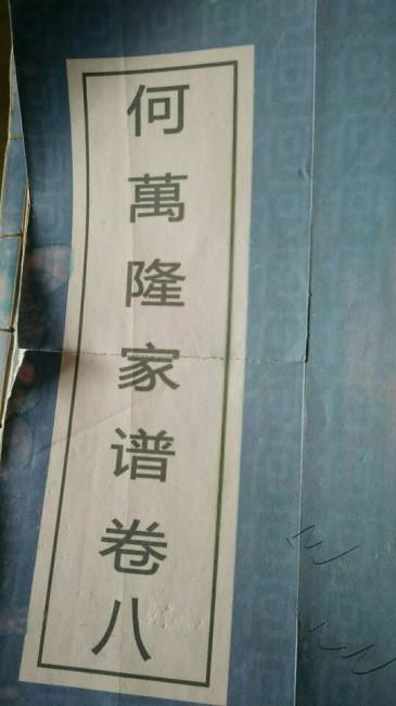《何万隆家谱》(封面)