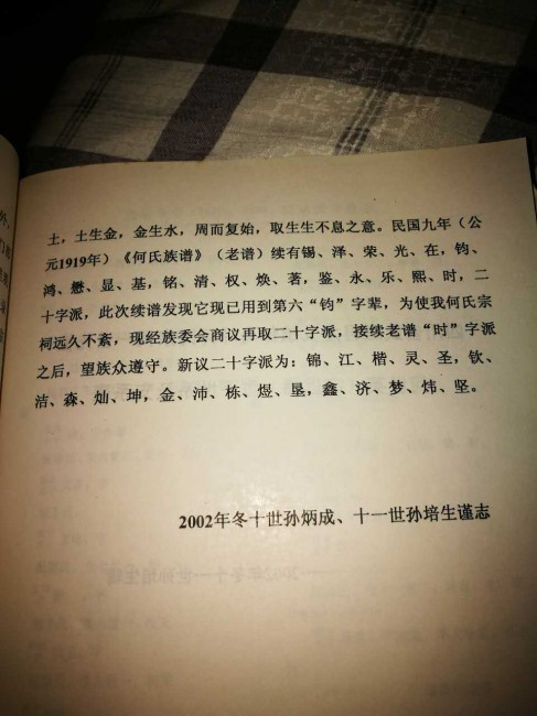 四川省武胜县龙女郁马坪何氏宗祠何氏族谱:字派