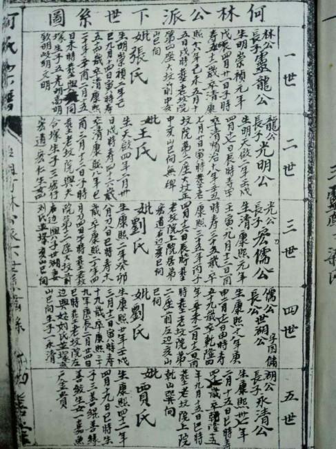 何氏宗谱:何林公派下世系图(一世至五世)