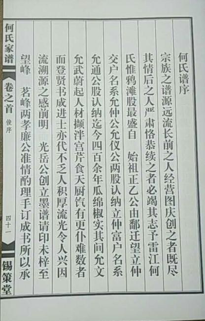 (安徽省安庆市望江县鸦滩)锡策堂何氏宗谱:何氏谱序