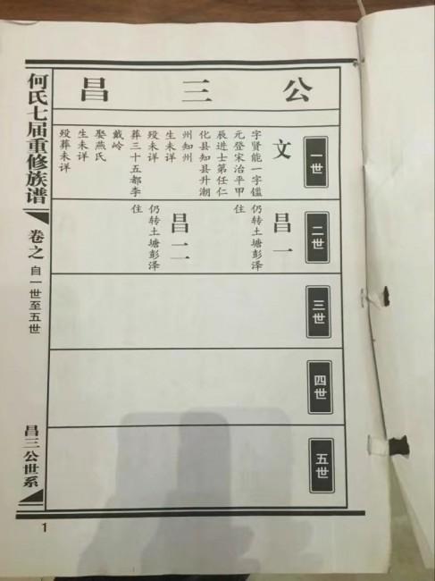 何氏七届重修族谱:昌三公世系