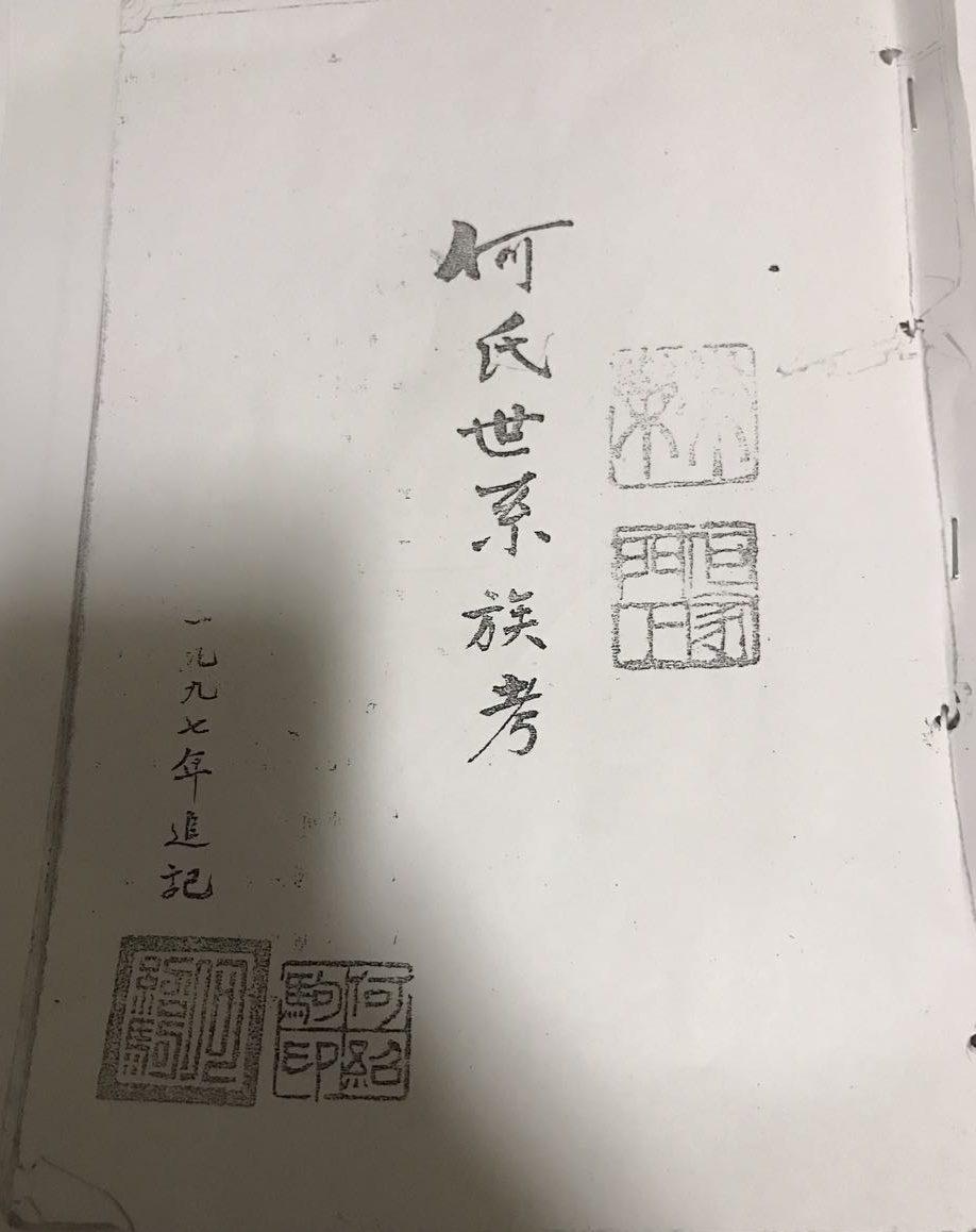 《何氏世系族考》(封面)