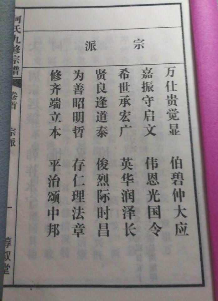 何氏九修宗谱:宗派