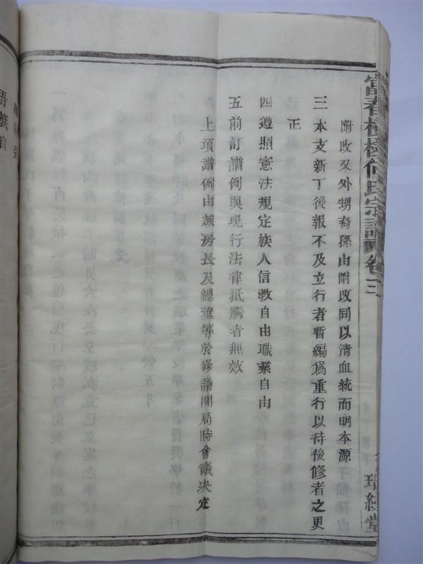 富春横槎何氏宗谱:民国戊子年新增谱例
