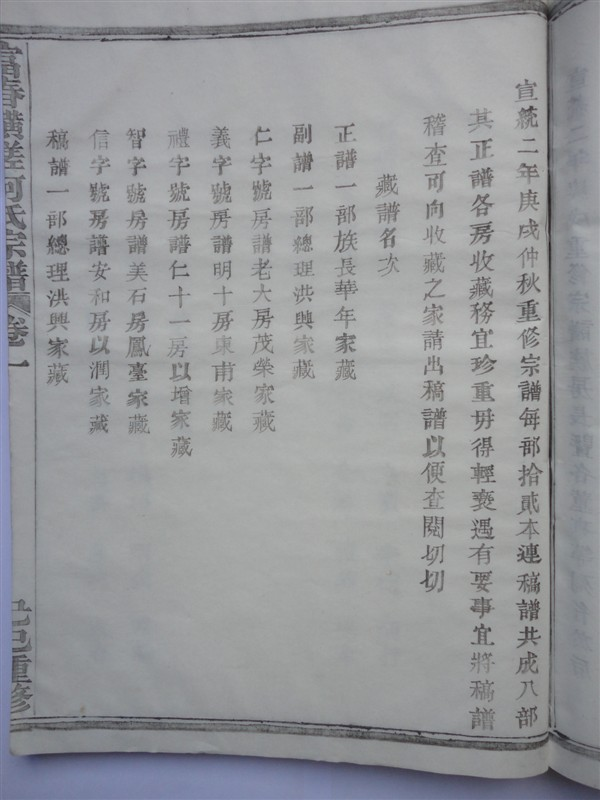 富春横槎何氏宗谱:藏谱名次