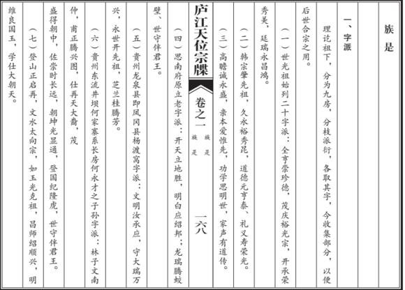 庐江天位宗牒:字派