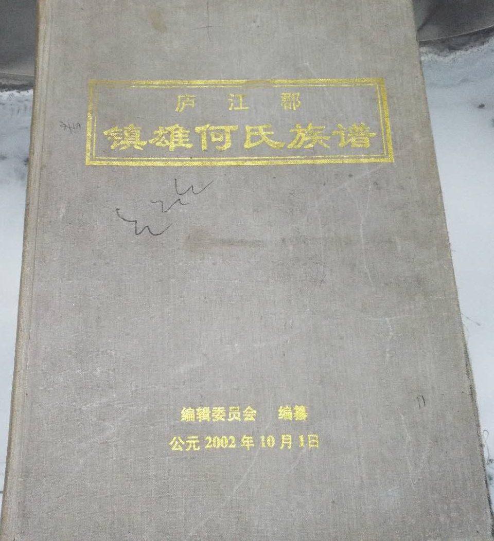 《庐江郡:镇雄何氏族谱》(封面)